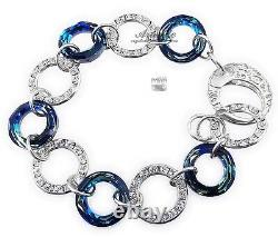 Original Crystals Bracelet Blue Ring And Other Colours Sterling Silver