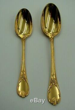 Original French Christofle Marly Gold Plate Flatware Set for 12 with Chest