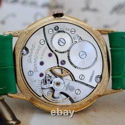 Original Gents Girard Perregaux Gold Plated Manual Wind Vintage Nice Green Dial