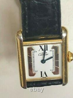 Original Must The Cartier Vermeil Trinity Quartz Argent 925 Gold Plaque