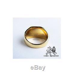 Original Rasta Thanamee Lion Onyx 18k Gold Plated. 925 Silver Ring Sz 8