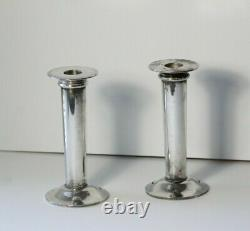 Pair (2) Vintage Mid 20thC Modern Swid Powell Silver Plate Candlesticks