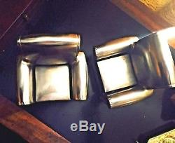 Pair Chrome/Silver plated Lounge Chair Bookends ART DECO VINTAGE MID CENTURY
