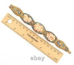 Pink Coral & Enamel Bracelet Handwrought Gold Plated Silver Cloisonné Features