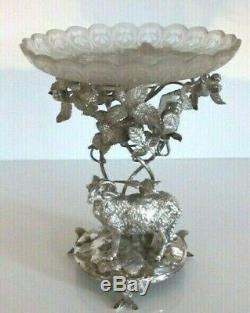 RARE Silver Plated Elkington Aesop's Fables Eagle and the Daw Centrepiece c1863