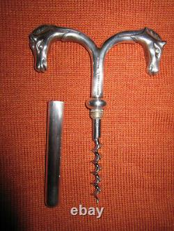 RARE Vtg Hermes Paris double horse head silver plated corkscrew / wine opener