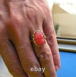 RING Red CORAL BAROQUE GENUINE Silver gold vintage 7,5 ITALY ORIGINAL FACE