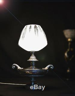 Rare 1940s ornate heavy silver-plated two handled Aladdins table lamp
