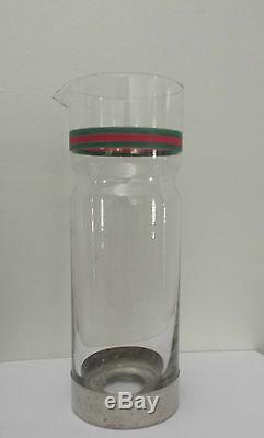 Rare 1970s Italian Gucci Glass / Silver Plate Water Jug / Carafe