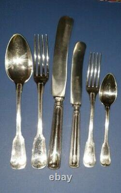 Rare 48 Piece Set Antique J A Henckels Zwillingswerk Silverplate Cutlery 8 Place