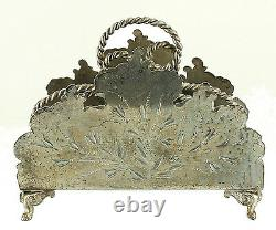 Rare Antique Aesthetic Silver Plate Engraved Napkin Letter Toast Holder Wilcox