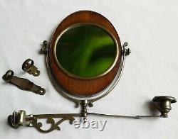 Rare Antique Girandole Silver Plate and Mahogany Shaving Mirror C. 1900