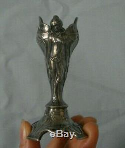 Rare Art Nouveau WMF silver plated lady fairy toothpick holder