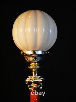 Rare French L/E art deco lamp Rogue Marble & silver plate Opaline globe shade