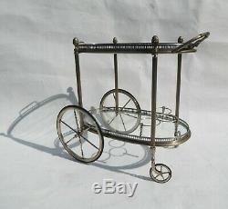Rare Maison Jansen Silver Plated MID Century Serving Trolley Tea Cart 1970