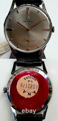 Rare Nos Certina Ref 7002 168 100 % Original Cal. 28-10 Circa 1966