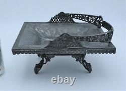 Rare Ornate Atq Metal Basket Middletown Plate Co 1870-80's Crocodile Dragonfly