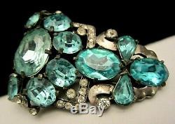 Rare Vintage 2-1/2 Signed Eisenberg Original Blue Rhinestone Fur Dress Clip M4