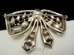 Rare Vintage 3 Signed Eisenberg Original Clear Rhinestone Bow Brooch Pin M4