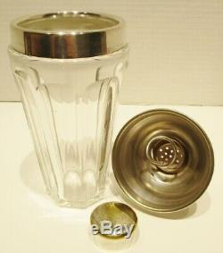 Rare Vintage Marked Baccarat Crystal Glass/Silver Plate Martini Cocktail Shaker