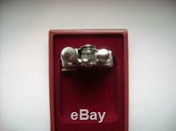 Rare Vintage Ronson Banjo Silver Plated Petrol Cigarette Lighter in Original Box