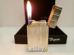 Rare Vintage Working ST Dupont Lighter Silver Plated Ligne France / Original Box