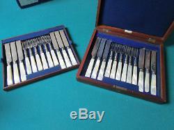 Reed & Barton Mother Of Pearl Handle Flatware Set 24 Pcs Original Wood Box