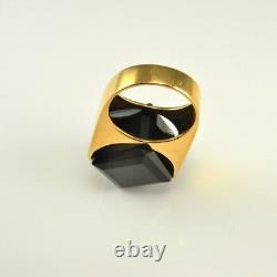 SMOKY Quartz Ring Gold Plated Sterling Silver Unisex Big Modernist Statement 70s