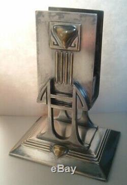 STUNNING Antique Art Nouveau Silver Plate & Brass match Holder, AMAZING