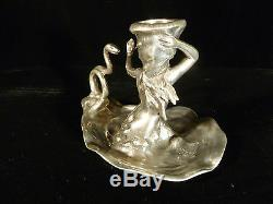 Signed Wmf Silver Plated Art Nouveau Woman & Snake Candle Holder Circa 1905