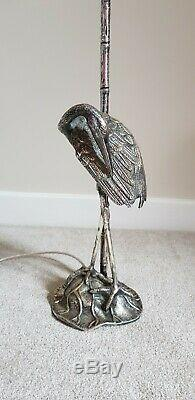 Silver Plated Bronze Heron Lamp by Valenti 1960s