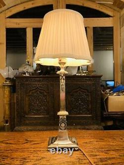 Silver Plated Classical Style Table Lamp, Wreath Decoration
