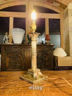 Silver Plated Corinthian Pillared Nelsons Column Table Lamp Hallmarked