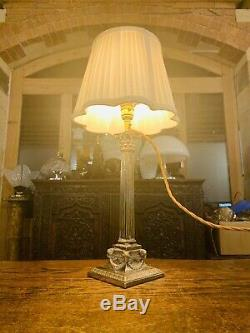 Silver Plated Corinthian Pillared Nelsons Column Table Lamp Rams Head With Swags