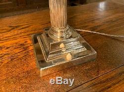 Silver Plated Corinthian Pillared Nelsons Column Table Lamp Stepped Base