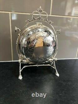 Silver Plated Engraved Round Biscuit Box