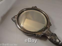 Silver Plated Hand Mirror with Angel Handle Victorian Original