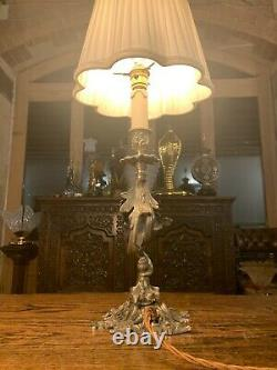Silver Plated Rococo Table Lamp, Antique Light