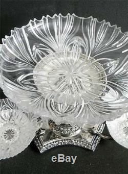 Silver plate tazza centerpiece epergne w crystal bowls cherubs