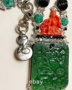 Sorrell Originals Stunning Jade Crystal & Art Glass Necklace OOAK