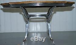 Stunning Chrome Silver Plated Coffee Table With Natural Stripped Oak Top Lovely