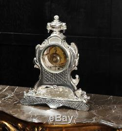 Stunning Large Silver Plated Bronze Rococo Clock Music C1880 Fully Restored