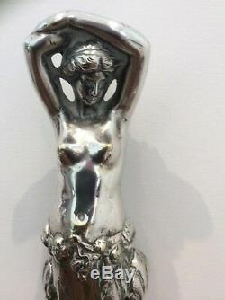 Stunning Silver Plate Door Stop Nude Lady Art Decco/nouveaux Circa 1900