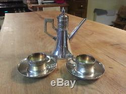 Stunning Silver Plate WMF Art Nouveau Teapot and Cups Jugendstil Secessionist