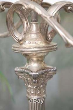 Superb 1900s English Pair of Antique Silver Plated Candelabras