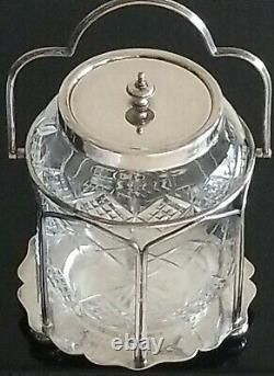Superb Antique English Silver Plate & Cut Crystal Biscuit Cookie Jar C. 1870