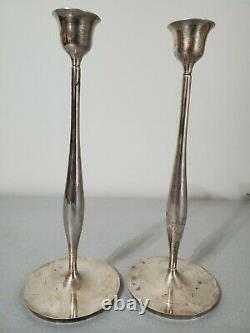 Swid Powell Pair Silver Plated 12 Candle Candlestick Holders Made In Italy