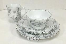 TEMPTATIONS 16pc DINNER SET- ELEGANT WHITE & SILVER LACE, CHRISTMAS EVE & WINTER