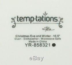 TEMPTATIONS 16pc DINNER SET- ELEGANT WHITE & SILVER LACE, CHRISTMAS EVE & WINTER