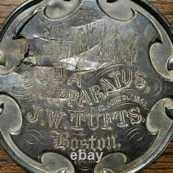 TUFTS Arctic Soda Water engraved silver plated soda fountain plaque 1863 Patent
